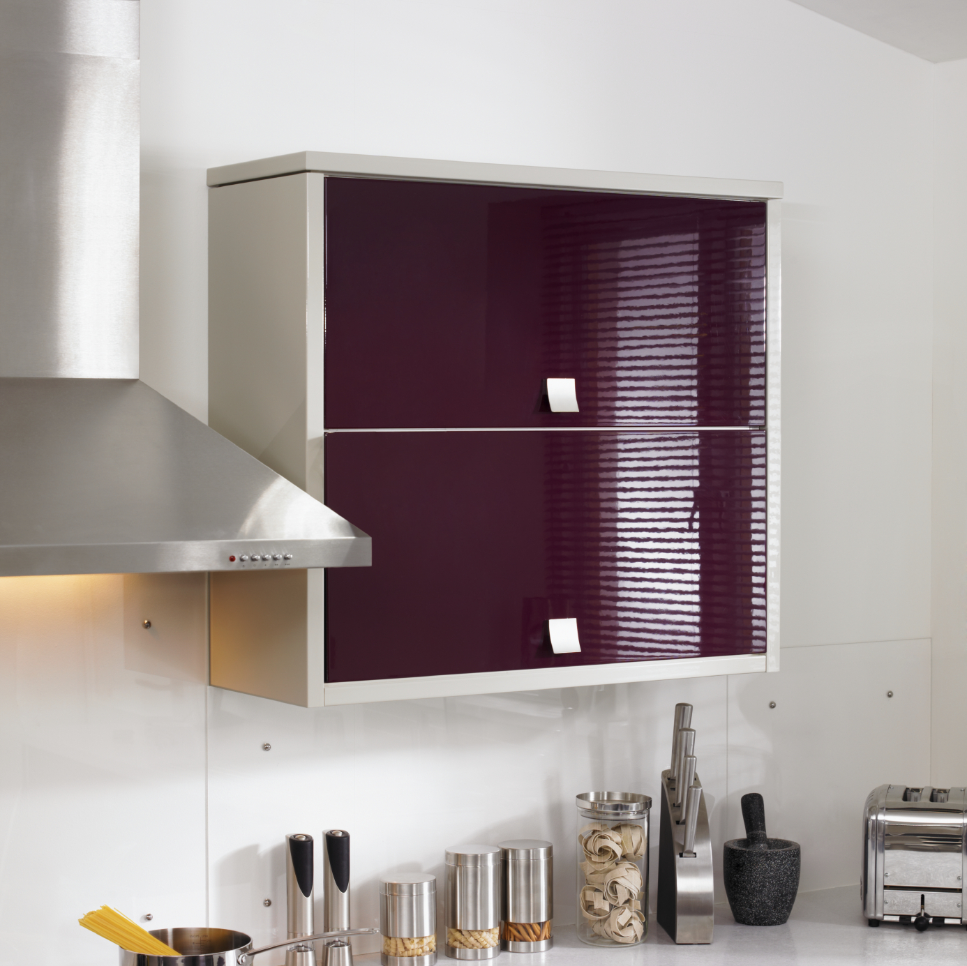 gloss purple kitchen cabinet